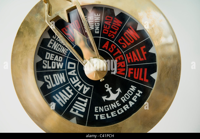 Traditional engine order telegraph - Stock Image