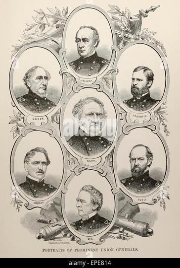Portraits of Prominent Union Generals - USA Civil War - Casey, Scott, Halleck, Shield, Franklin, Buell, Dix - Stock Image