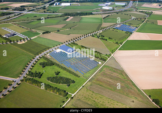 The Netherlands, Heerlen, Industrial solar panel field. Aerial. - Stock Image