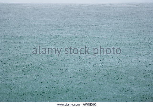 Rain on sea - Stock Image
