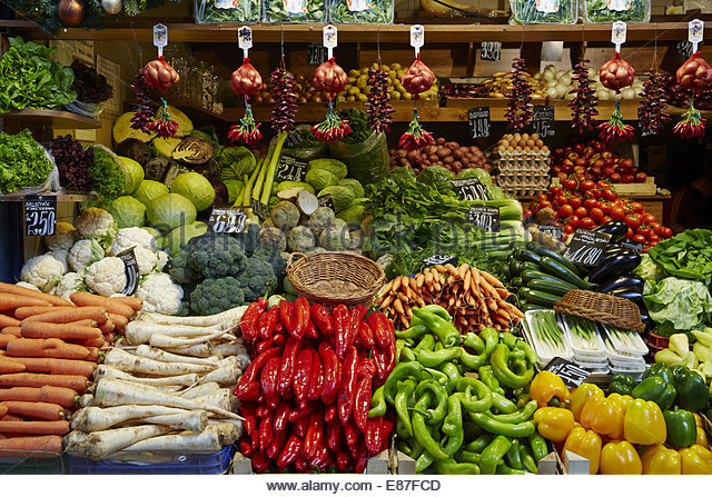 Produce, fruit & vegetable market with various colorful fresh fruits and vegetables - Stock Image