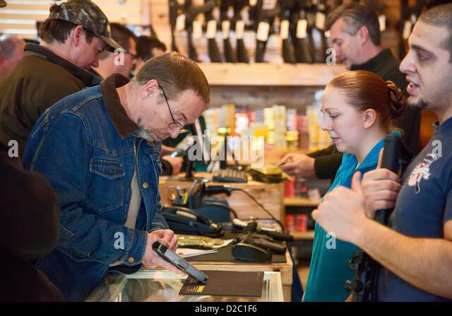 Milford, Michigan - Customers crowded the Huron Valley Guns store on Gun Appreciation Day. Pro-gun groups gathered - Stock Image