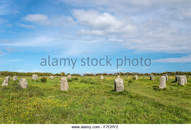 Merry Maidens, also known as Dawn's Men is a late neolithic stone circle  near St Buryan, Cornwall, England - Stock Image