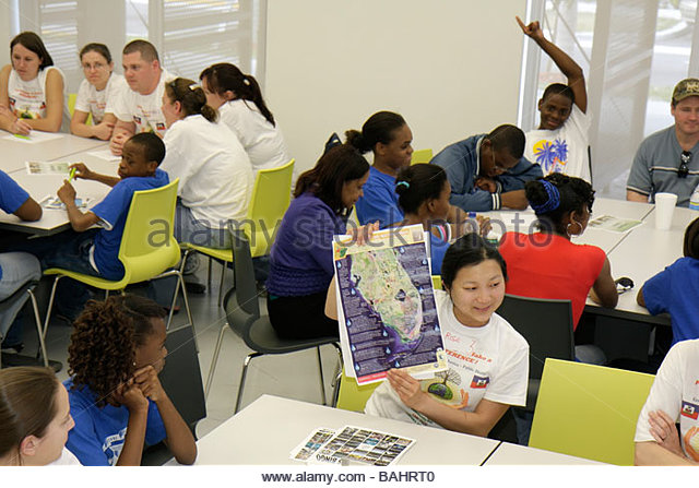 Miami Florida Little Haiti Cultural Complex Center MLK Day of Service EPA Community Day volunteer mentoring session - Stock Image