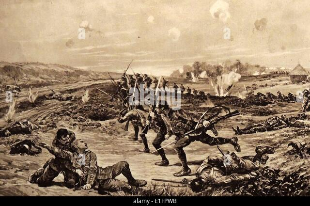 Illustration depicting Captain Vernon Haggard's (1874 - 1960), Welsh Regt, actions at Chivy-sur-Aisne. Dated - Stock Image