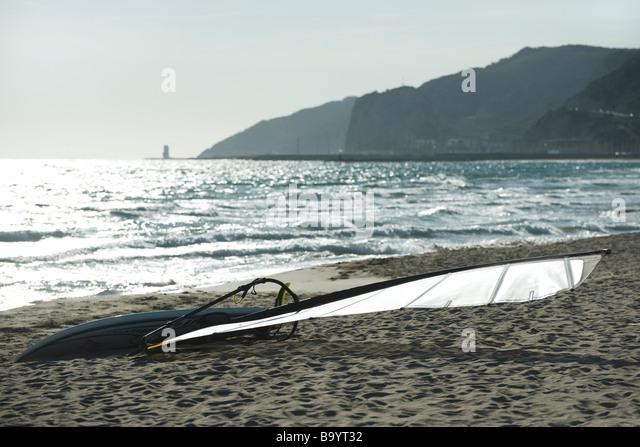 Windsurf board on beach - Stock Image