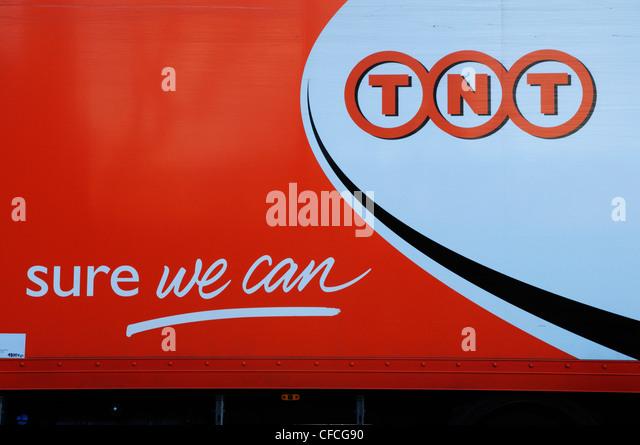 TNT Courier Delivery Van, Cambridge, England, UK - Stock Image