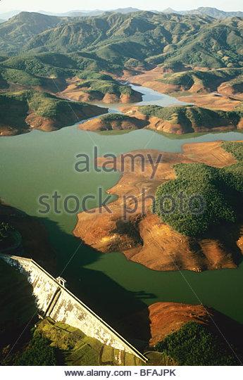 Water reservoir (aerial), Western Ghats, India - Stock-Bilder