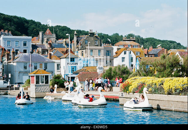 Hastings Old Town front, East Sussex UK, with boating pond - Stock Image