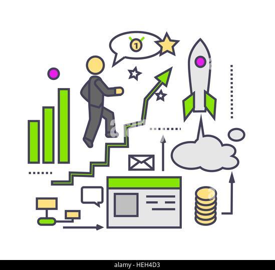 Icon flat style design successful startup. Business idea, development innovation progress, process and strategy, - Stock-Bilder