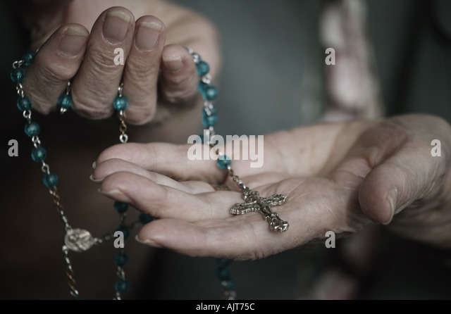 Rosary bead with cross - Stock Image
