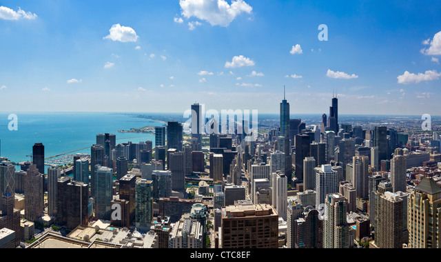 The city skyline looking south from the observatory on the John Hancock Center, N Michigan Avenue, Chicago, Illinois, - Stock Image