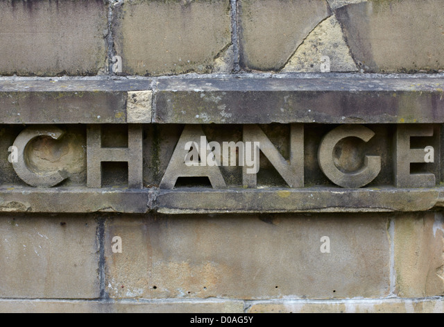 Word change in stone and weathered - Stock Image