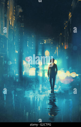 man walking at night on the wet street,illustration - Stock Image