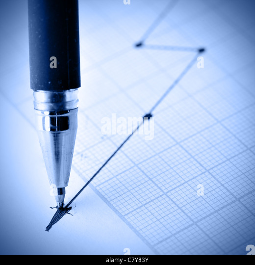 Pen drawing a crisis graph. Shallow DOF! - Stock-Bilder