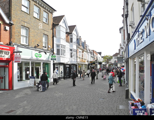 Horsham in West Sussex. This is West Street. - Stock Image