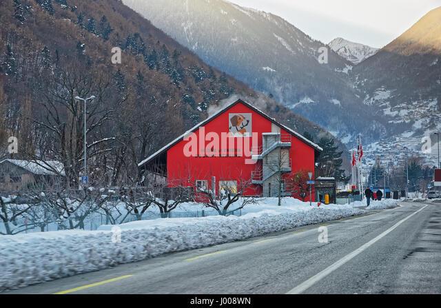 Martigny, Switzerland - January 1, 2015: Saint Bernard museum in Martigny, Switzerland. Winter. People on the background - Stock Image