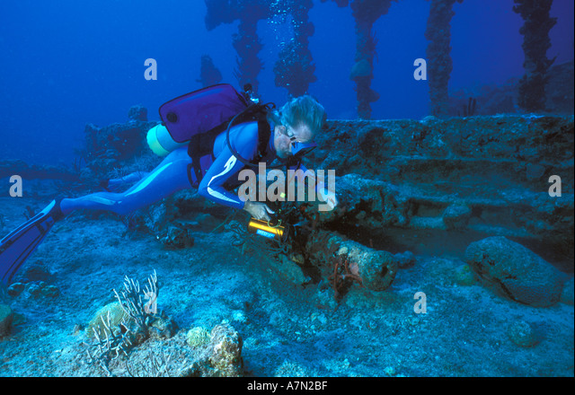 British Virgin Islands diving the wreck of rhe RMS Rhone - Stock Image