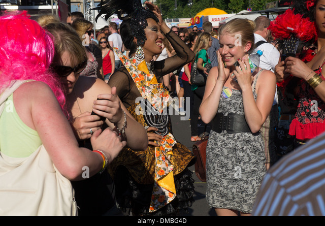 Homosexual people and their allies gather together to celebrate annual Christopher Street Day (Pride Parade) in - Stock-Bilder