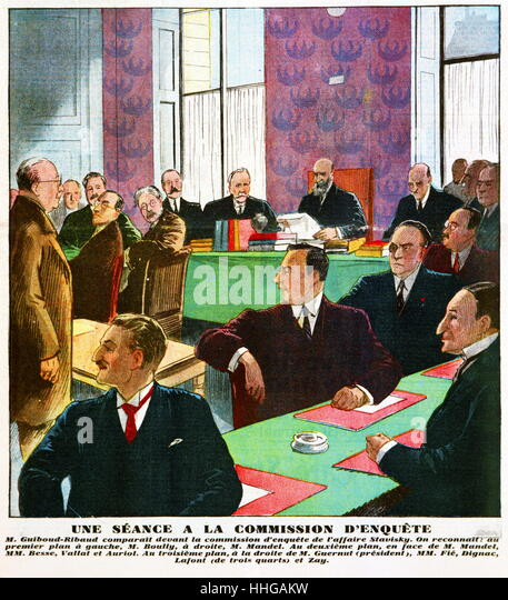Magazine illustration showing a session of the commission of inquiry into the Stavisky Affair, Paris, France 1934. - Stock Image