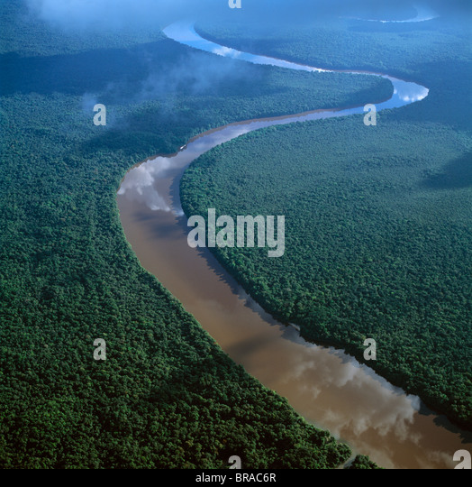 Aerial image of the Lower Mazaruni River south of Oranapai Landing, Guyana, South America - Stock Image