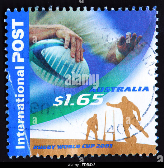 Used and postmarked Australia / Austrailian Stamp $1.65 2003 Rugby World Cup - Stock Image