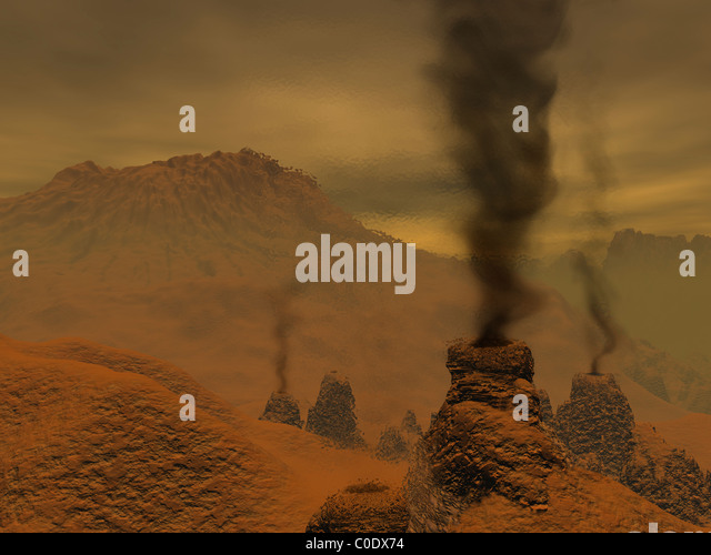 Artist's concept of volcanic activity on the surface of Venus. - Stock-Bilder