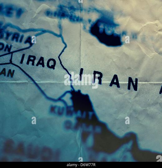paper map iran - Stock Image