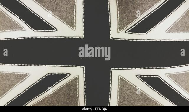 Full Frame Shot Of Black Union Flag - Stock-Bilder