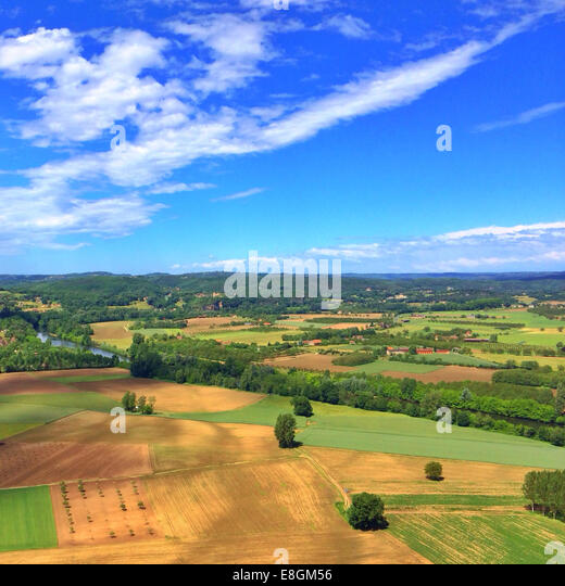 Aerial view of rural landscape, Lot, France - Stock Image