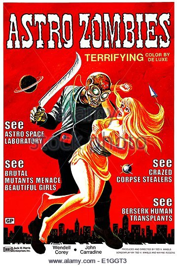 'Astro Zombies' a 1968 science fiction horror film starring John Carradine and Wendell Corey. - Stock Image