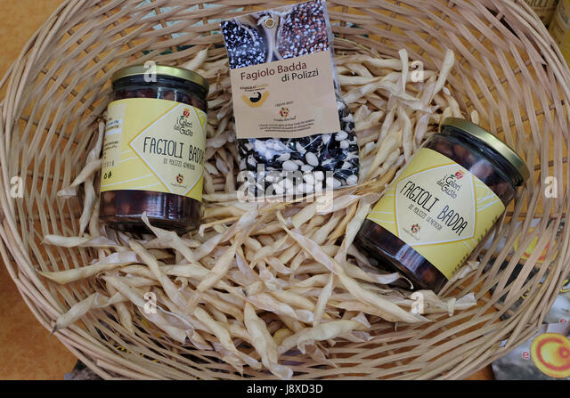 Typical bean named 'Badda' from Polizzi Generosa,Sicily, Italy,Europe - Stock Image
