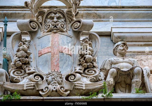 Italy Liguria Genoa , Strada Nuova - Via Garibaldi - Palace Nicolò Grimaldi - Palazzo Tursi - Stock Image