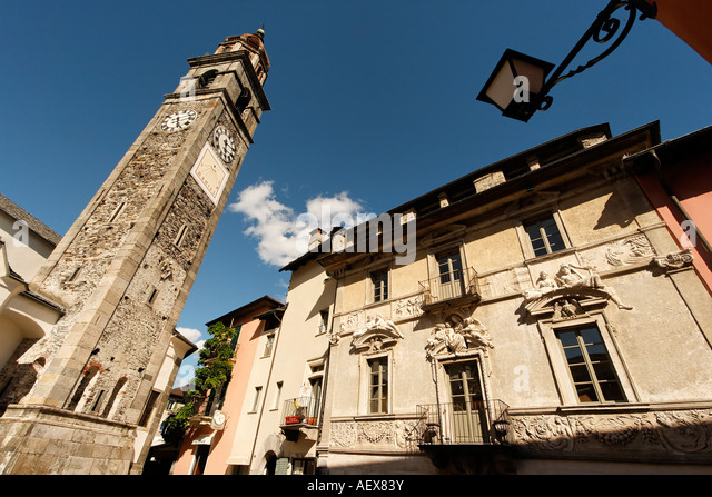 Switzerland Ticino Ascona church clock tower - Stock Image