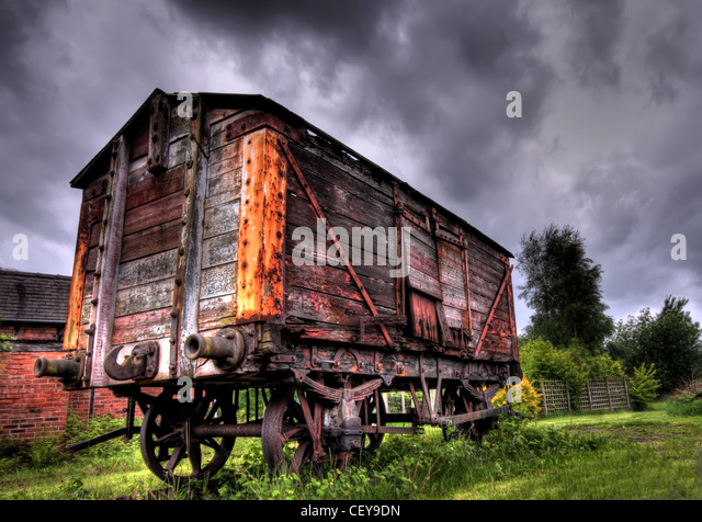 Northwich Salt Museum Railway wagon with a dramatic sky. - Stock Image