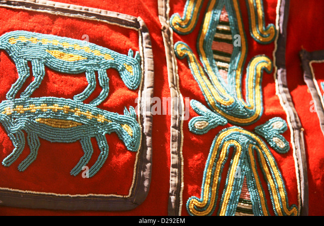Beading Detail At Museum Of Northern B.C. In Prince Rupert, Canada - Stock Image