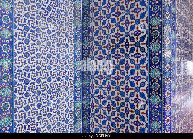 Iznik faience tiles, Ruestem Pasha Mosque, Istanbul, Turkey, Europe, Istanbul, Istanbul Province, Turkey - Stock Image