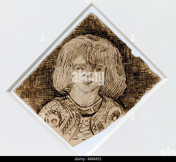 Head of a Girl, by Vincent van Gogh, 1888,Solomon R. Guggenheim Museum, Manhattan, New York City, USA, North America - Stock Image