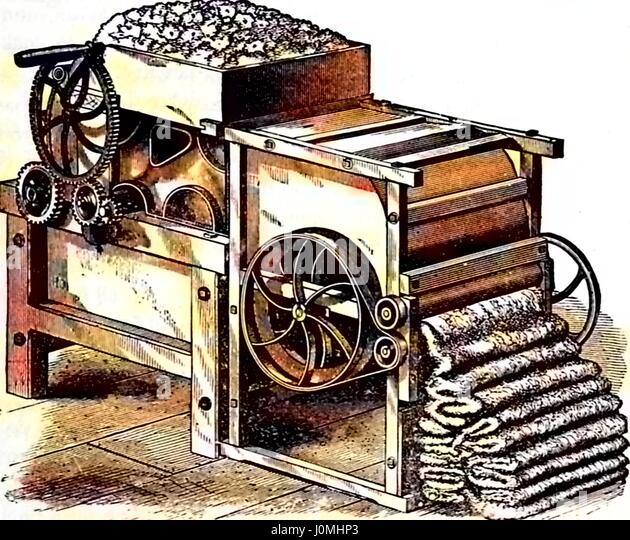 Illustration of a complex mechanical cotton gin with gears and levers processing cotton for use in textiles, 1878. - Stock Image