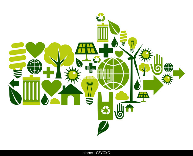Arrow symbol made with green environment icons set. - Stock Image