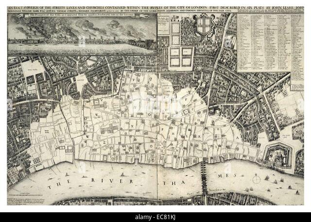 17th Century Map of London - Stock Image
