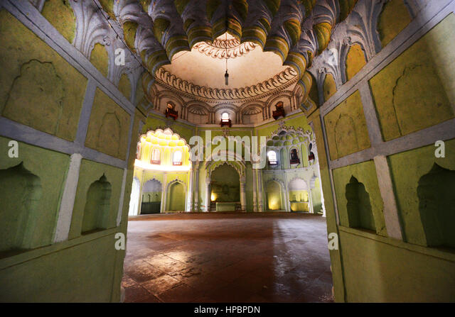 The interior of the Bara Imambara building  in Lucknow, Uttar Pradesh, India. - Stock Image