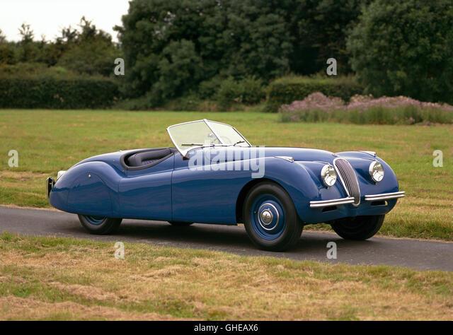 1948 Jaguar XK120 Roadster 2 door 2 seater 3 4 litre Inline 6 DOHC engine developing 160bhp Country of origin United - Stock Image