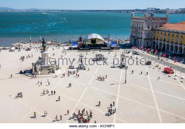Lisbon Portugal Tagus River Baixa Chiado historic center Terreiro do Paco Praca do Comercio Commerce Square public - Stock Image