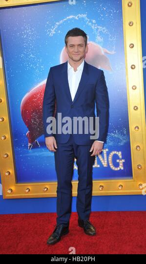 Los Angeles, CA, USA. 3rd Dec, 2016. Taron EgertonTaron Egerton at arrivals for SING Premiere, L.A. Live, Los Angeles, - Stock Image