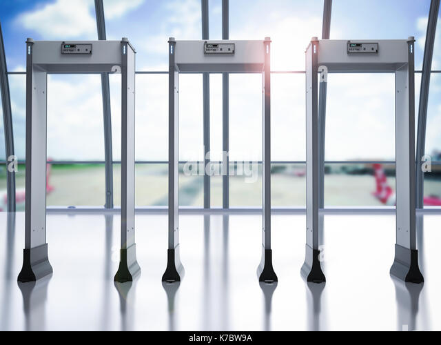 Airport security gates stock photos