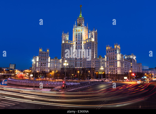 Night view of Stalin skyscraper at Kotelnicheskya embankment in center of Moscow, Russia - Stock Image