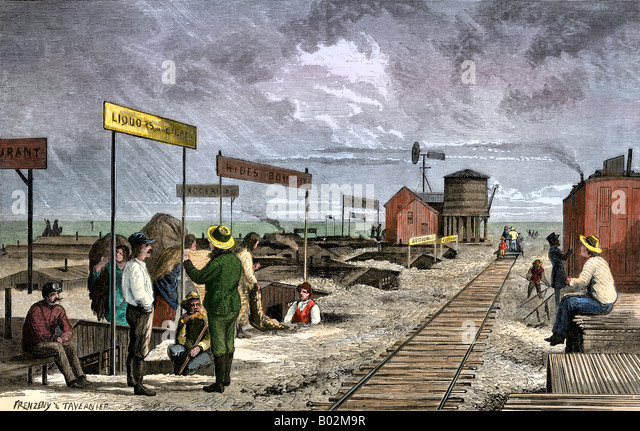 An underground village of dugouts doing business along the transcontinental railroad 1870s - Stock Image