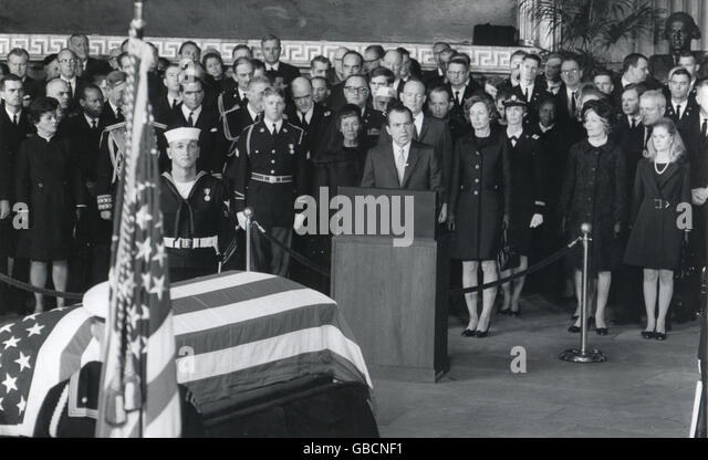 President Richard M. Nixon eulogizes former President Dwight D. Eisenhower in ceremonies March 30 in the Rotunda - Stock Image