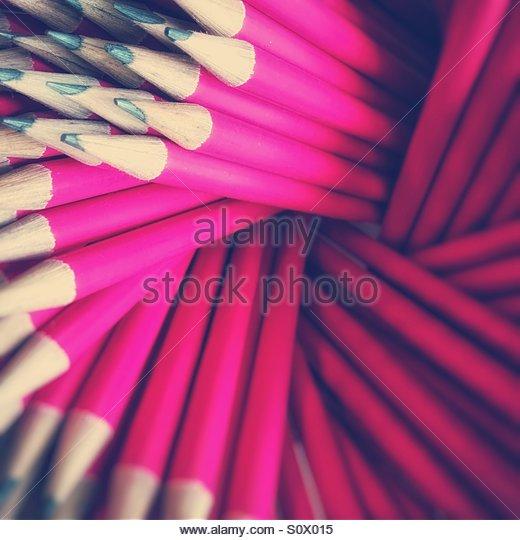 Pink Pencils - Stock Image